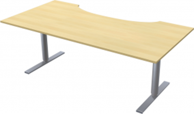 Complete table incl Ergofunk II stand | Cutout, 2000 x 1000 mm